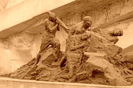 tangshan city: TANGSHAN CITY - NOVEMBER 16: The seismic characters statue in the Tangshan earthquake ruins park, on november 16, 2013, tangshan city, hebei province, China.