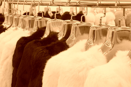 tangshan city: TANGSHAN CITY - NOVEMBER 16: The Fine fur clothing on hangers in a store, on november 16, 2013, tangshan city, hebei province, China.