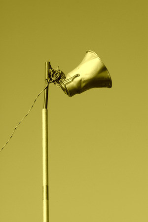 a public notice: loudspeaker on wire poles in rural, China. Stock Photo