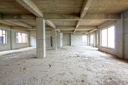 unfinished: unfinished concrete cast-in-situ hall