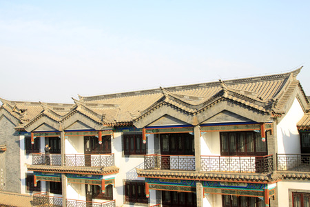 chinese ancient city buildings, closeup of photo Editorial