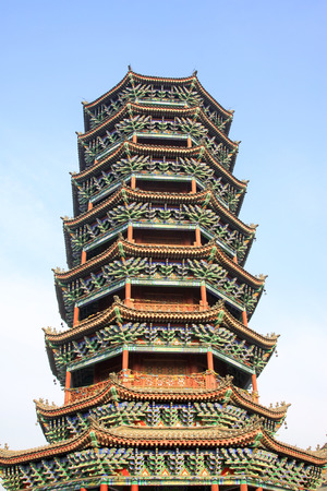 antique asian: Chinese ancient tower building, closeup of photo