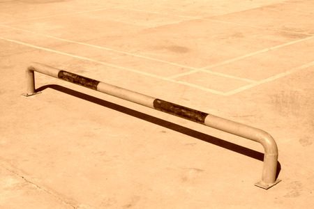 parking facilities: parking spaces on the cement floor, closeup of photo