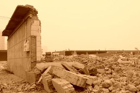housing demolition materials in the demolition site Editorial