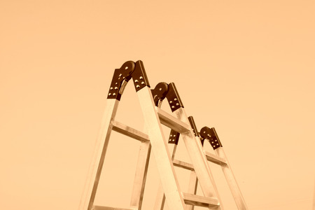 alloy: aluminum alloy ladder under sky, closeup of photo