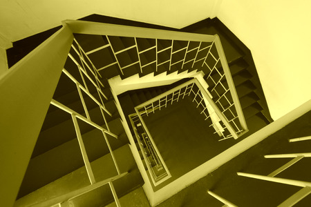landscape mode: The top view of stairs down in a building