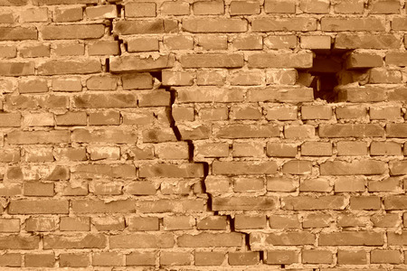 tsunamis: dangerous wall with cracks, closeup of photo Stock Photo