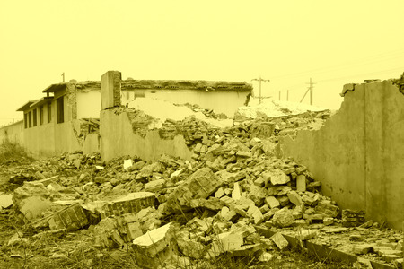 smoldering: housing demolition materials in the demolition site Stock Photo