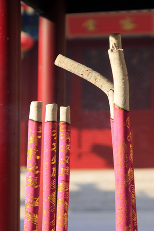 proving: incense in a temple, closeup of photo Stock Photo
