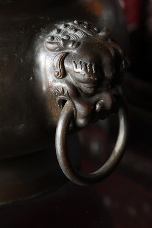 knocker: metal door knocker, closeup of photo