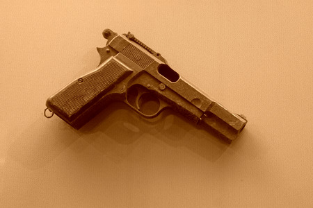 old items: original abandoned pistol in a museumj, closeup of photo Editorial