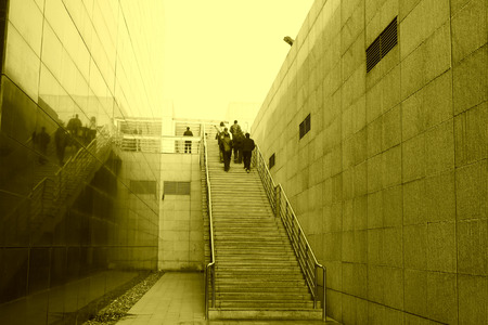 tangshan city: TANGSHAN CITY - NOVEMBER 16: The stairs aisle in the Tangshan earthquake ruins park, on november 16, 2013, tangshan city, hebei province, China. Editorial