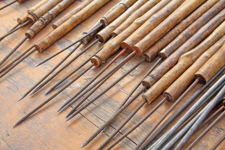 handle: Wooden handle steel brazing