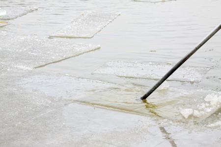 scenarios: Rectangular ice floating on the water, closeup of photo