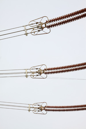 solid wire: Electric power equipment hv porcelain, closeup of photo