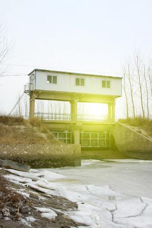 sluice: Water conservancy project, sluice building landscape, closeup of photo