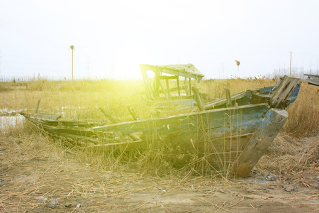 disintegration: Wooden fishing boat wreckage, closeup of photo