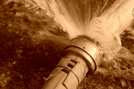 leaking: leaking fire pipeline joints, tangshan, china Stock Photo