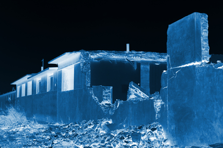 demolition: housing demolition materials in the demolition site Stock Photo