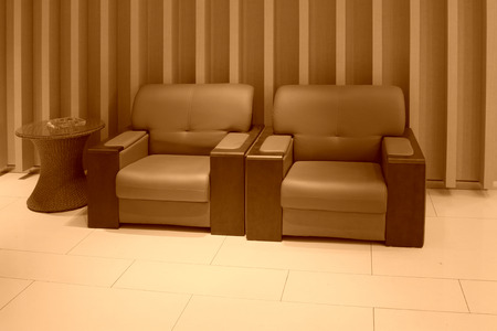 Sofa In The Hotel Lobby, Closeup Of Pictures Stock Photo   45272719