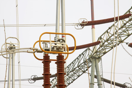 solid wire: Electric power equipment in a substation, closeup of photo Stock Photo