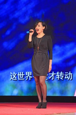 LUANNAN COUNTY -  FEBRUARY 9: Singing performances on the stage, on February 9, 2015, Luannan County, Hebei Province, China