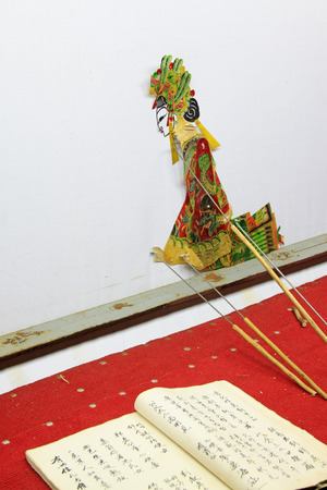 nonphysical: Chinese shadow play figures and books, closeup of photo