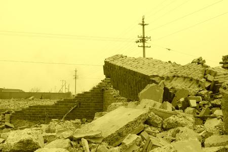 housing demolition materials in the demolition site Stock Photo