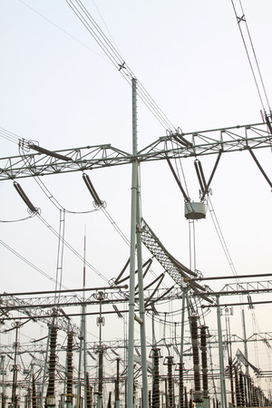 high frequency: Electric power equipment in a substation, closeup of photo Stock Photo
