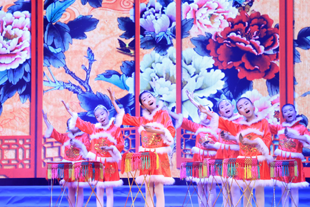 instrumental: LUANNAN COUNTY- FEBRUARY 13: LeTing drums performances, traditional Chinese instrumental music playing, on February 13, 2015, Luannan, Hebei Province, china.