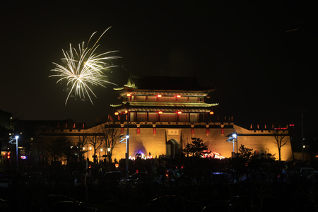 hebei: LUAN COUNTY - MARCH 5: Luan State ancient city night scenery, on march 5, 2015, Luan County, Hebei Province, China Editorial