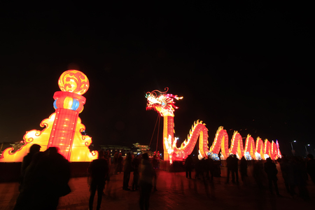 restore ancient ways: LUAN COUNTY - MARCH 5: Dragon lanterns landscape architecture in a park, on march 5, 2015, Luan County, Hebei Province, China