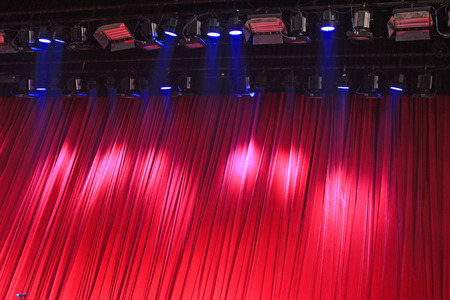 droplight: Red curtain and stage lights Stock Photo
