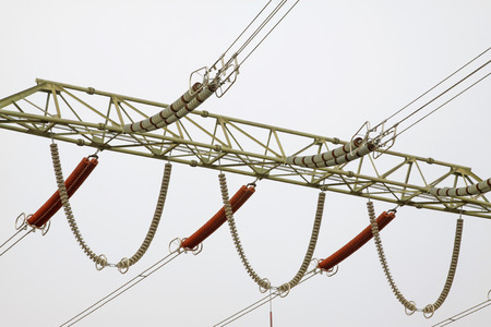 solid wire: Electric power equipment, hv porcelain and metal stents, closeup of photo
