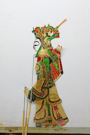 folk heritage: Chinese shadow play figures, closeup of photo
