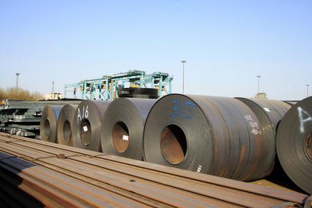 standard steel: strip steel in the bulk terminal, closeup of photo Stock Photo