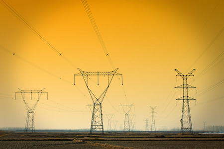 electric power: Electric power tower under the blue sky, closeup of photo