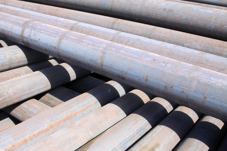 commodities: Oxidation rust steel pipe, closeup of photo