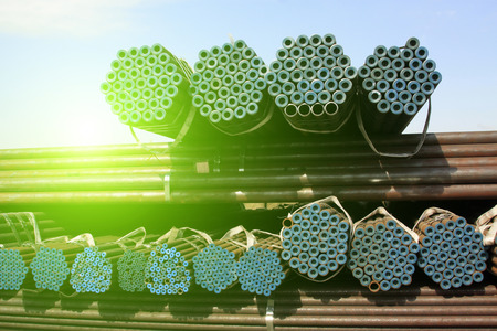 steel pipe: Steel pipe cross section features, closeup of photo