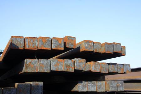 ingot: Oxidation rust steel ingot, closeup of photo Editorial