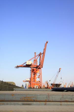gantry: gantry crane in cargo berth, closeup of photo