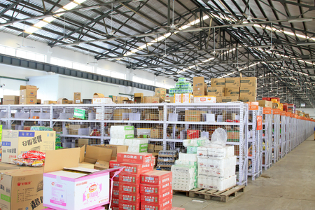 display figure: LANGFANG CITY - MARCH 12: Goods on the shelf in 366 online shop storage and transportation center, March 12, 2015, Langfang City, Hebei Province, China.