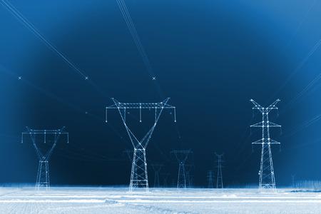 energia electrica: Torre de energía eléctrica bajo el cielo azul, primer plano de la foto Foto de archivo