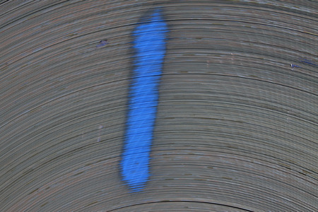 blue steel: strip steel texture and paint marks, closeup of photo