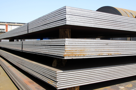 steel: Steel plate in a goods yard, closeup of photo