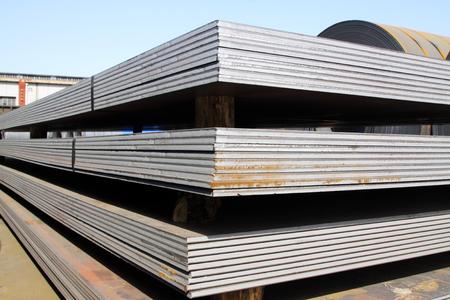 steel: Steel plate in a goods yard, closeup of photo