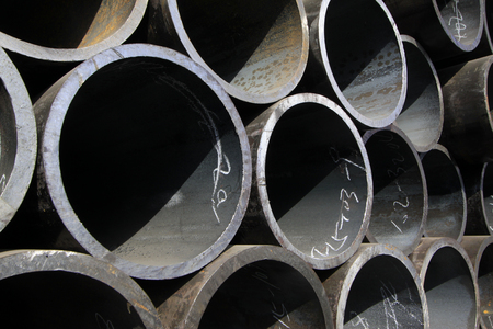 steel: Steel pipe cross section features, closeup of photo