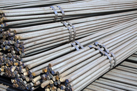 steel: steel bar cross section features, closeup of photo Stock Photo