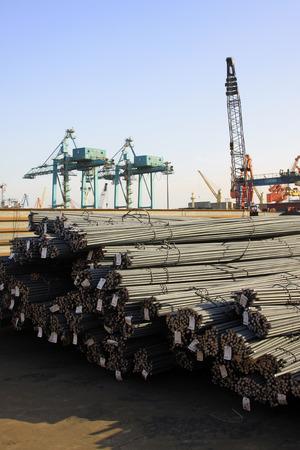 deformed: deformed steel bar piled up together, in the bulk terminal