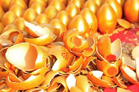 pieces of golden eggs, closeup of photo Stock Photo
